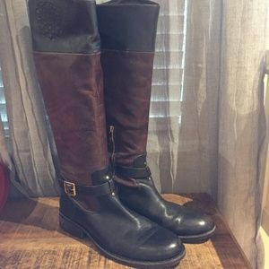 Two-toned leather riding boots Vince Camuto